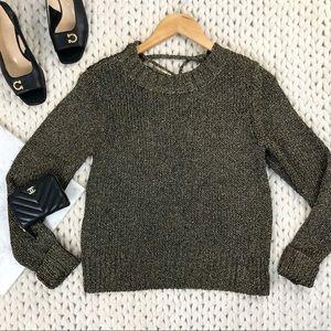 ALC Metallic Knit Lace Up Open Back Sweater